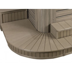"Corner Steps ( 6"" Radius 17"" Deep Monterey Grey )( front right corner )"